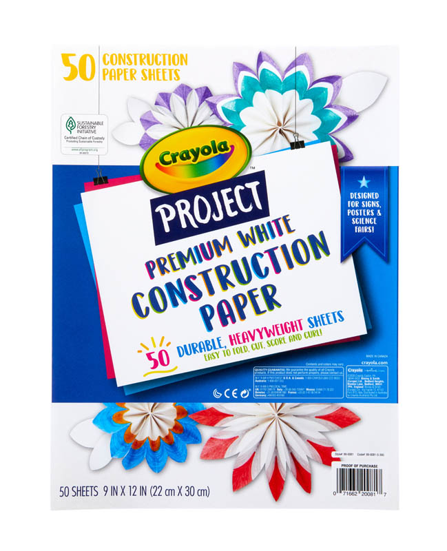 Crayola Project: White Premium Construction Paper (50 sheets)