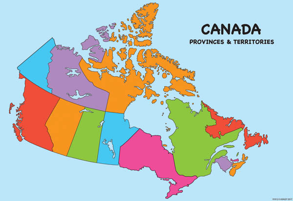 Canada Poly Map Chart Write-On/Wipe-Off (Poly Maps)