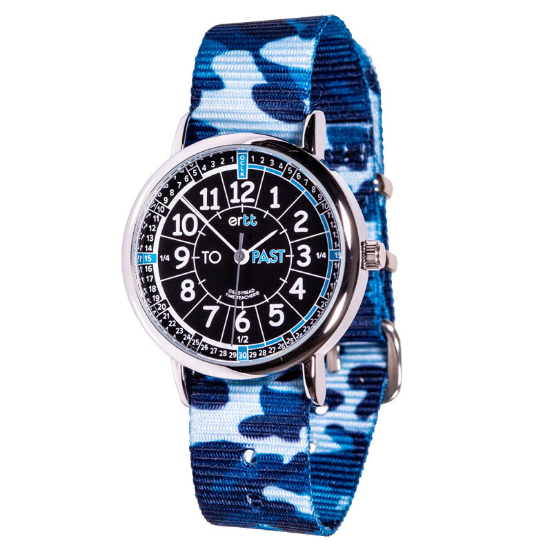 EasyRead Time Teacher Past & To Camo Watch - Black/Blue Face, Blue Camo Strap