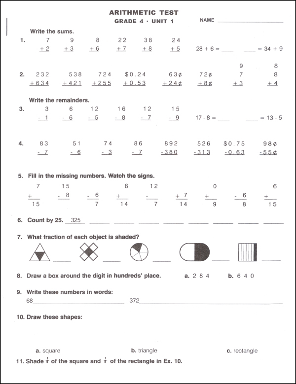 Study Time Arithmetic - Tests and Drills, Grade 4