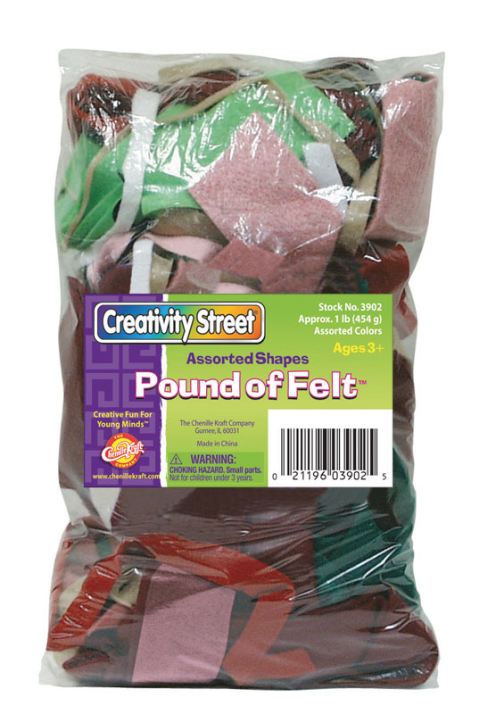 Felt Pack - Multi-Colored Assorted  Sizes & Shapes -1lb