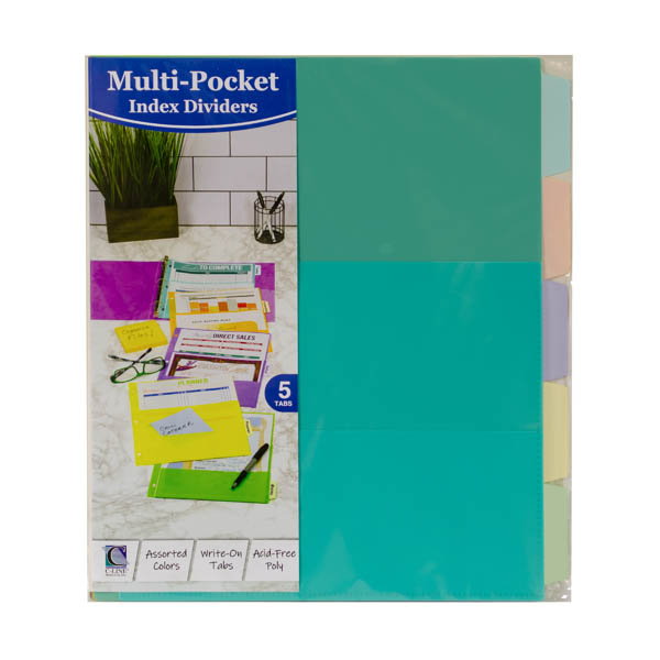 5-Tab Fashion Index Dividers with Multi-Pockets, Assorted - set of 5