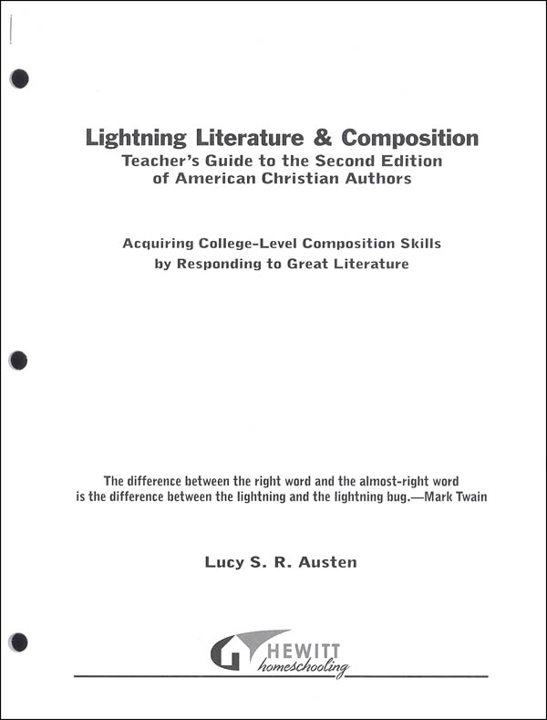 Lightning Literature & Composition American Christian Literature Teacher Guide