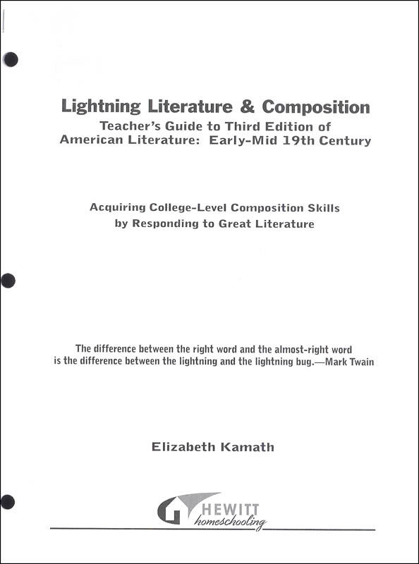 Lightning Literature & Composition American Literature Early - Mid 19th Century Teacher Guide