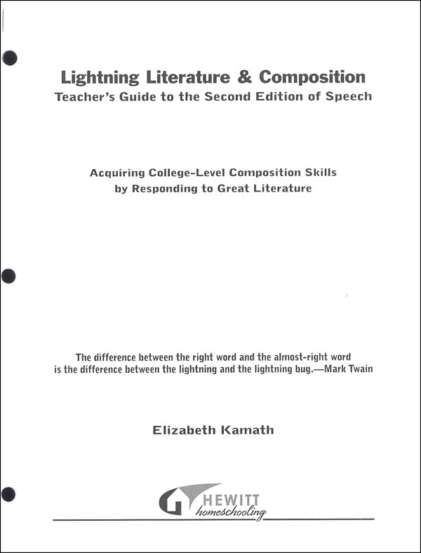 Lightning Literature & Composition Speech Teacher Guide
