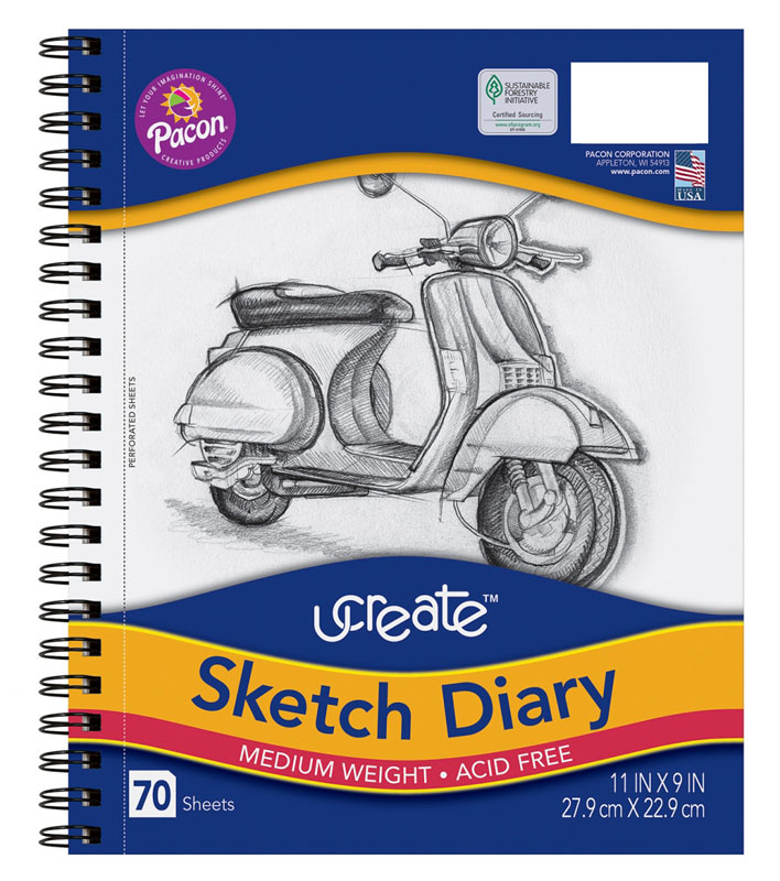 "UCreate Sketch Diaries (11""x9"") - 70 sheets"