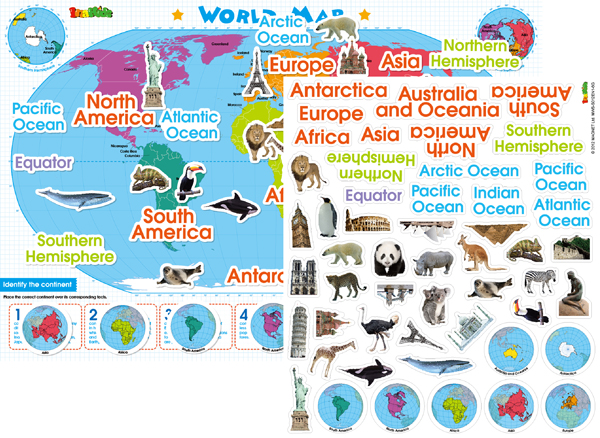 World Map Magnetic Wall Sticker