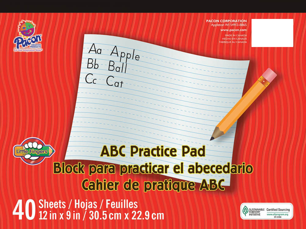 "ABC Practice Tablet, White (12""x9"")"