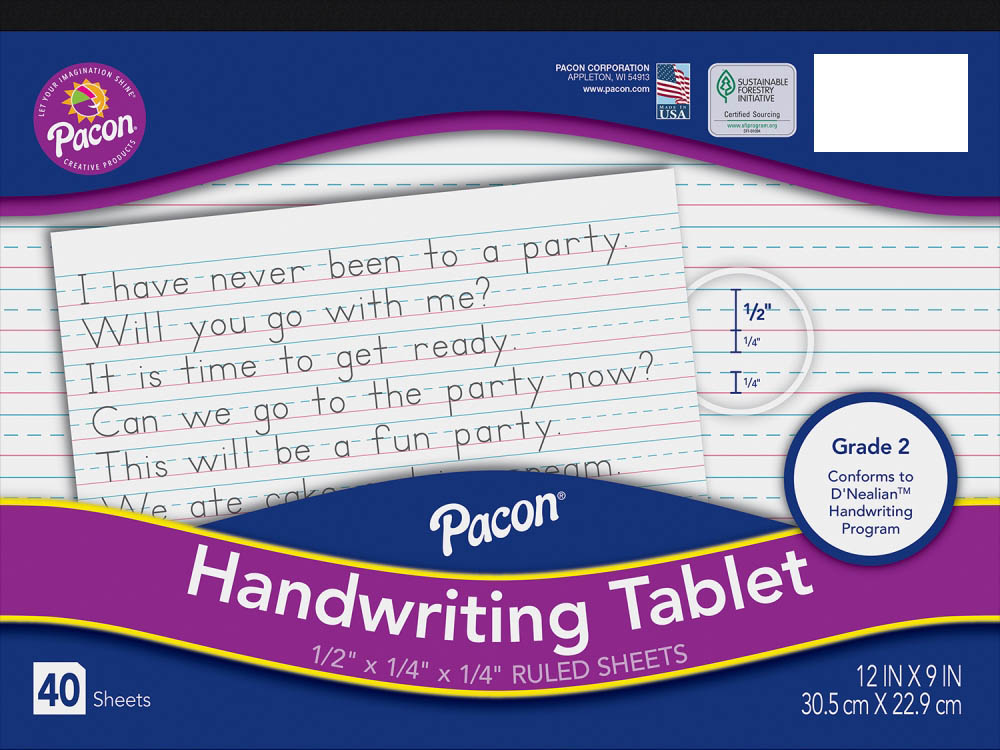 "Handwriting Tablet - 1/2"" ruled"