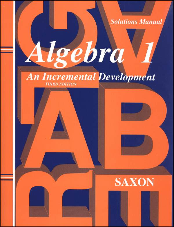 Saxon Algebra 1 Solution Manual 3ED