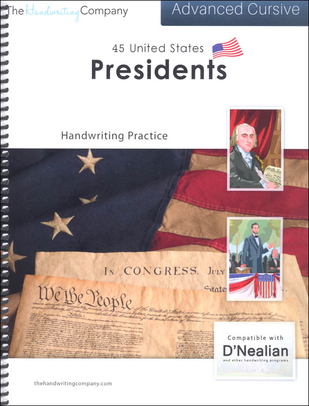 45 United States Presidents Character Writing Worksheets D'Nealian Advanced Cursive