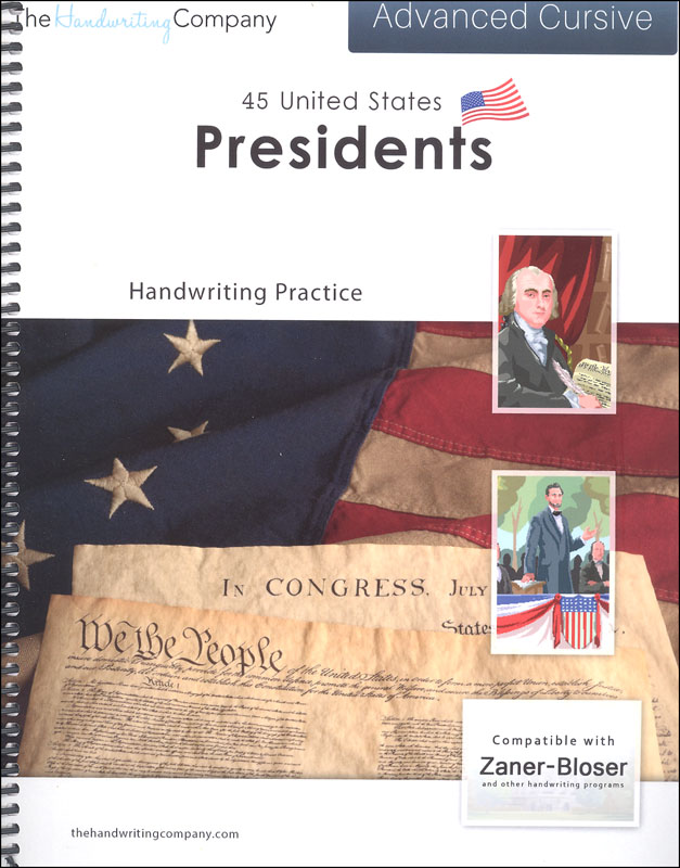 45 United States Presidents Character Writing Worksheets Zaner-Bloser Advanced Cursive