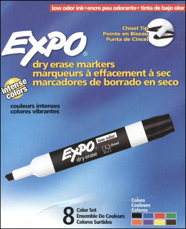 Expo2 Low-Odor Dry Erase Chisel Set of 8 (Assorted Colors)