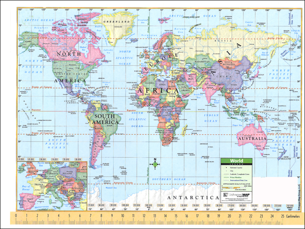 Notebook Map U.S./World Laminated