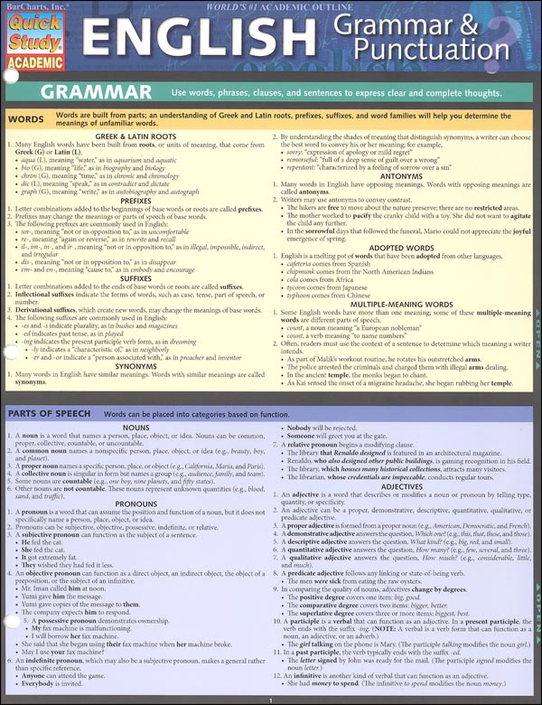 English Grammar & Punctuation Quick Study