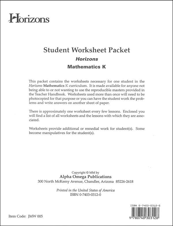 Horizons Math K Worksheet Packet