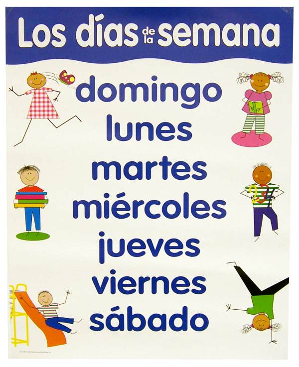 Spanish Basic Skills Chart - Days of the Week