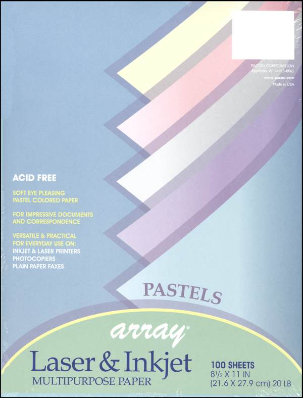 "Pastel Acid-Free Paper 20# - 8½"" x 11""  (100 Sheets, Assorted Colors)"