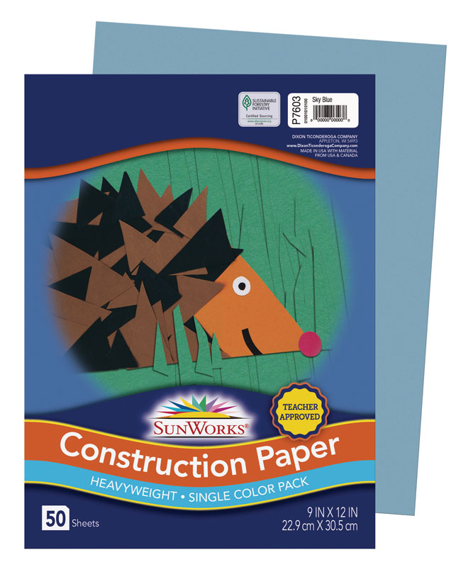 "SunWorks Construction Paper Sky Blue 9""x12"""
