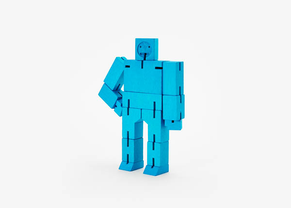 Cubebot (Wooden Toy Robot) - Small blue