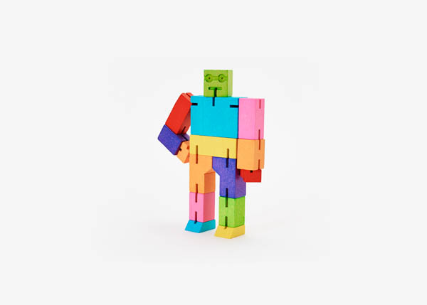 Cubebot (Wooden Toy Robot) - Small multi