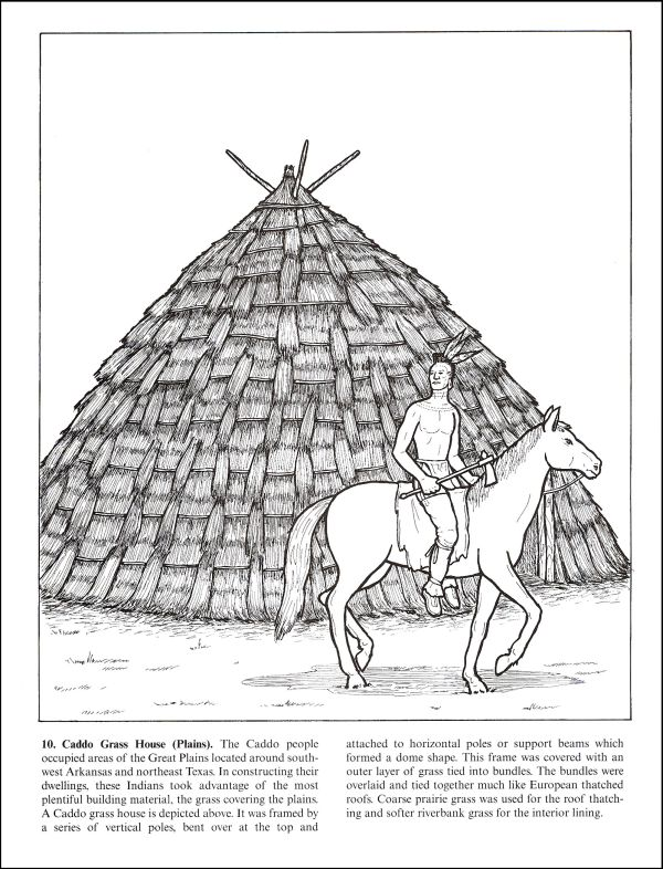 Wigwams, Longhouses And Other Native American Dwellings Coloring Book  Dover Publications 9780486433271