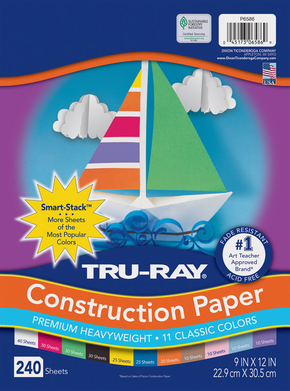 "Tru-Ray Smart-Stack Assortments, 11 Assorted Colors (9"" x 12"") - 240 Sheets"