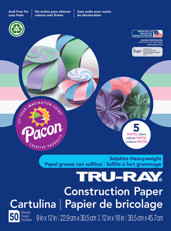 "Tru-Ray Sulphite Construction Paper - Pastel Assorted, 5 Colors (9"" x 12"") - 50 Sheets"