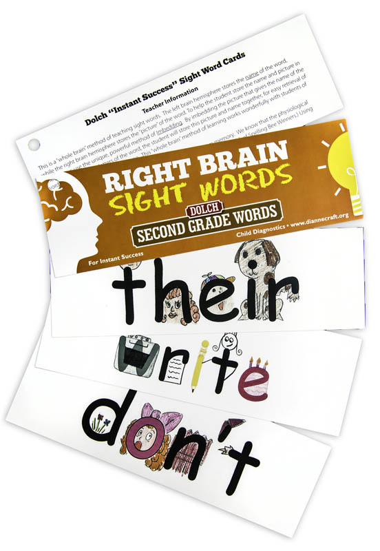 Right Brain DOLCH Sight Word Cards: Second Grade