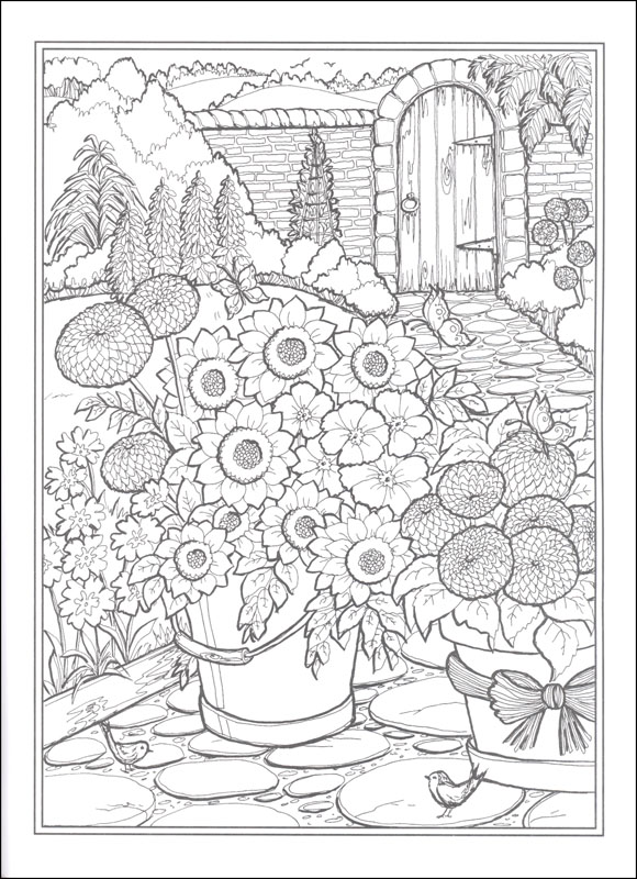 Country Gardens Coloring Book (Creative Haven) Dover Publications  9780486840451