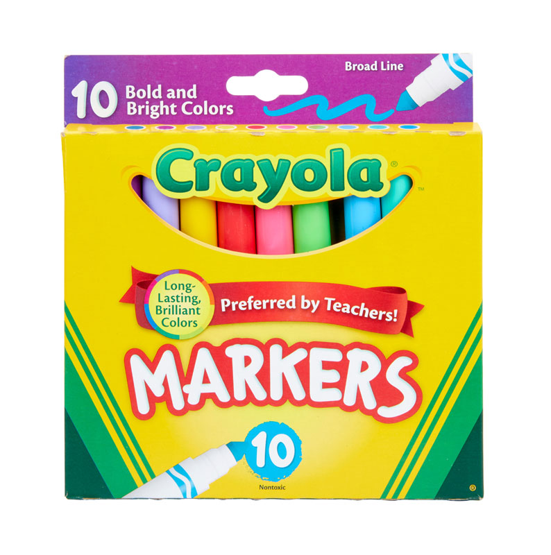 Crayola Broad Line Markers Bold and Bright 10 Count
