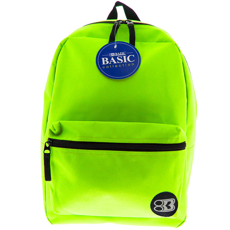 Lime Green Basic Backpack 16""