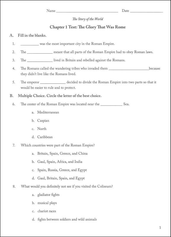 Story of the World Volume 2 Tests and Answer Key 2nd ...