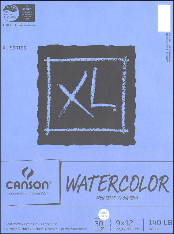 "Canson Watercolor Pad Extra Large 9"" x 12"" 30 Sheets"