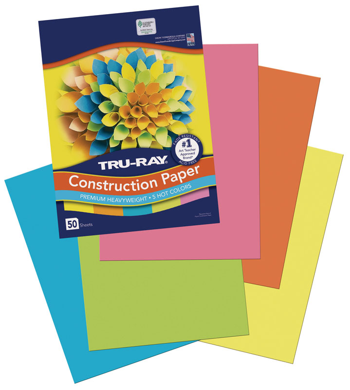 "Tru-Ray Construction Paper Hot Colors Assorted 9""x12"" 50 Sheets"