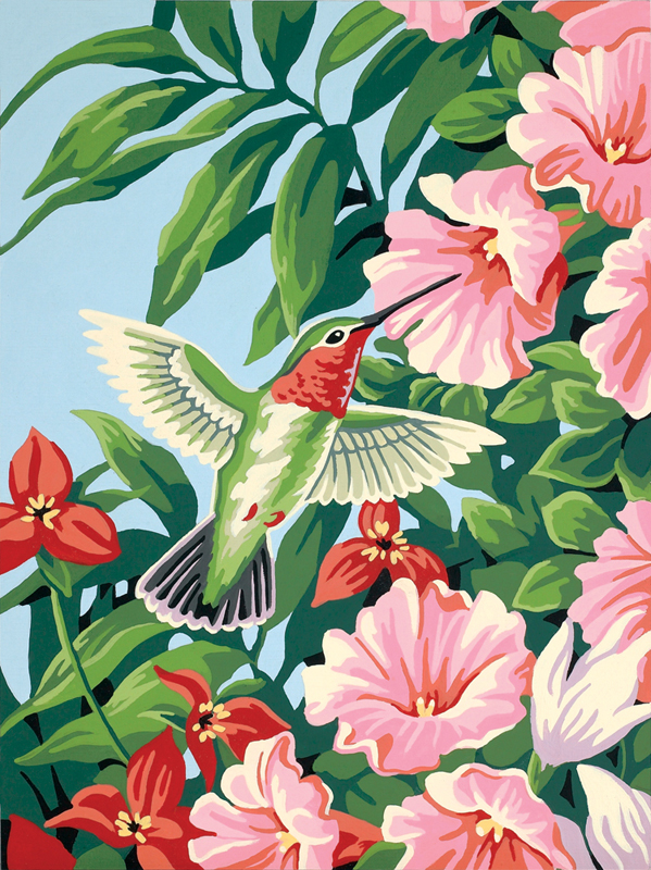 Hummingbird & Fuchsias Paint-By-Number (Intermediate)