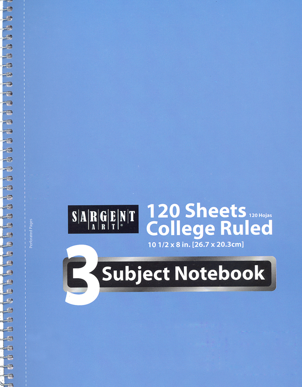 3 Subject College Ruled Notebook