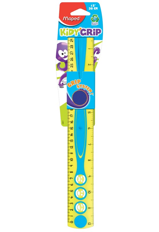 "Kidy Grip Dual Graduations 12"" Ruler"