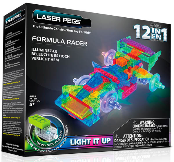 Laser Pegs Light It Up Power Block (12 in 1 Formula Racer)