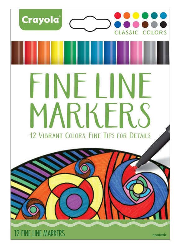 Crayola Adult Coloring Fine Line Markers Classic 12 count
