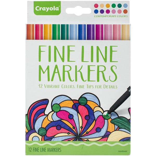 Crayola Adult Coloring Fine Line Markers Contemporary 12 count