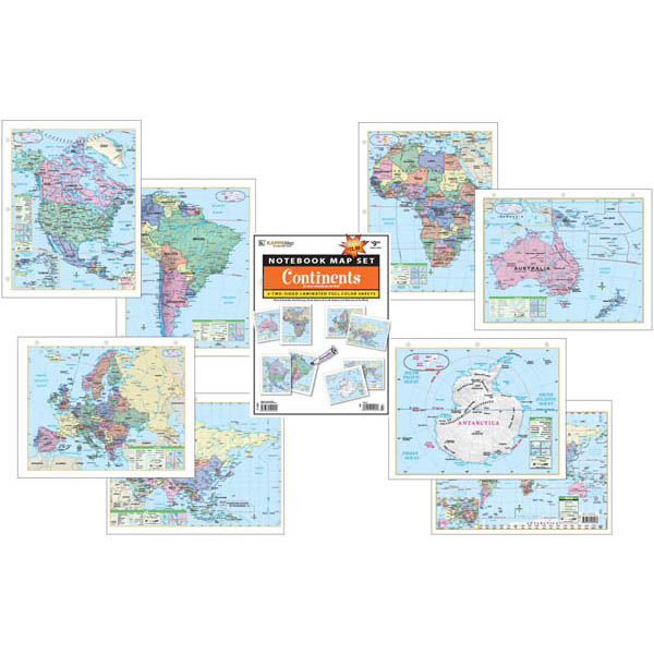 Continent Notebook Maps (4 pack) Laminated