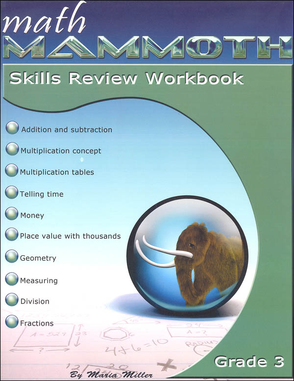 Math Mammoth Grade 3 Color Skills Review Workbook