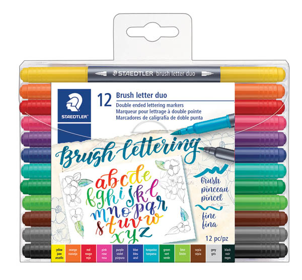Staedtler Double-Ended Brush Marker Brush Letter Duo (set of12)
