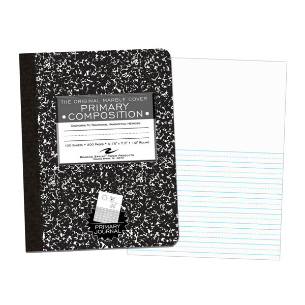 Hard Cover Black Marble Composition Book - Picture Story (100 sheet)