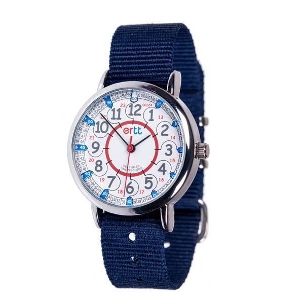 EasyRead 24 Hour Watch - Red & Blue Face, Navy Blue Strap