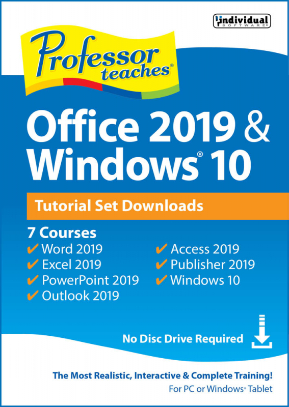 Professor Teaches Office 2019 and Windows 10 Tutorial Set Digital