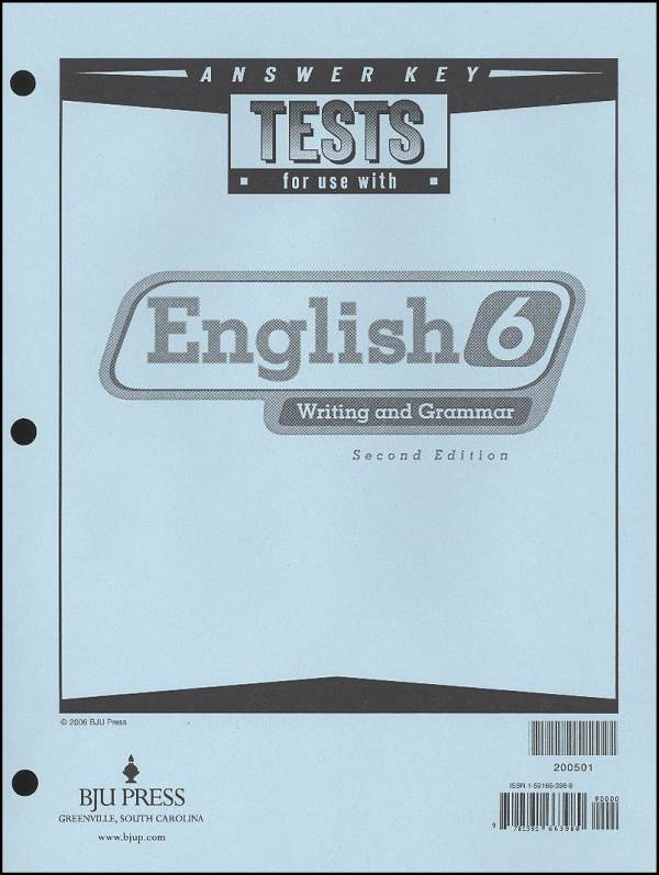 Writing/Grammar 6 Testpack Answer Key 2ED