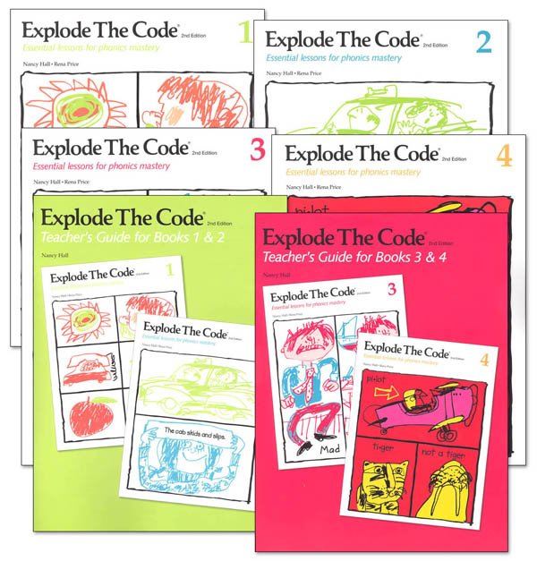 Explode the Code Books 1-4 (no 1/2s) with Teacher Guides (2nd Edition)