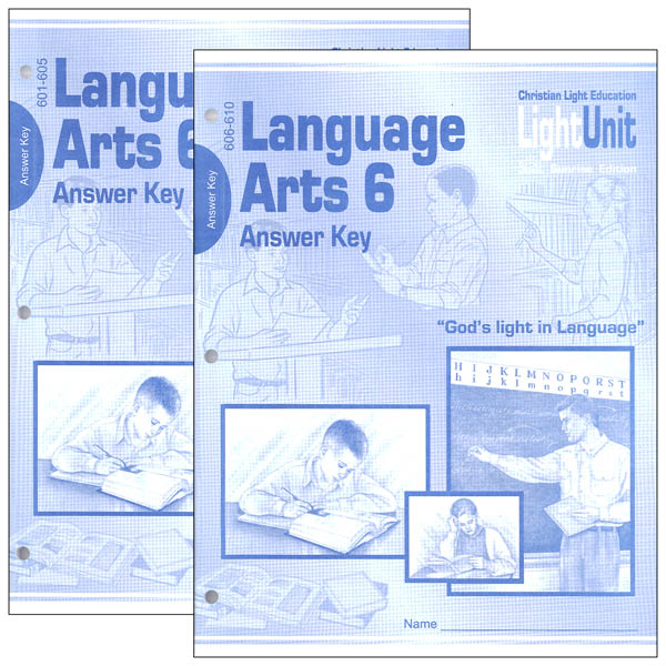 Language Arts LightUnit 601-610 Answer Key Set Sunrise Edition